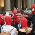 """Andrew Garfield lors de l'avant-première du film """"The Amazing Spider-Man 2: Le Destin d'un Héros"""" à Londres, le 10 avril 2014."""