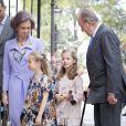 La reine Sofia, les deux princesses Sofia et Leonor, le roi Juan Carlos lors de la messe de Pâques à Palma de Majorque le 20 avril 2014.