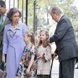 Felipe, Sofia, les deux princesses Sofia et Leonor, le roi Juan Carlos lors de la messe de Pâques à Palma de Majorque le 20 avril 2014.