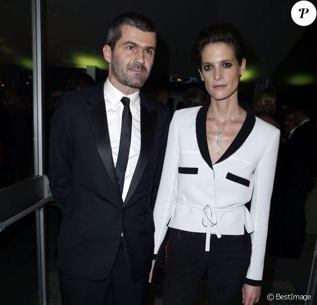Hélène Fillières et son compagnon, Matthieu Tarot - Dîner de la mode pour le Sidaction au Pavillon d'Armenonville à Paris, le 23 janvier 2014.