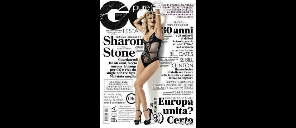 """Sharon Stone en couverture du magazine """"GQ Italie"""", daté de mai 2014."""
