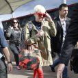 Miley Cyrus arrive à l'O2 Arena de Londres, le 6 mai 2014.