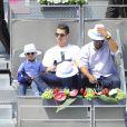 Cristiano Ronaldo et son fils Cristiano Jr. assistent au Master 1000 de Madrid le 8 mai 2014 à la Caja Magica de Madrid