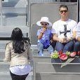 Cristiano Ronaldo et son fils Cristiano Jr. lors du Master 1000 de Madrid le 8 mai 2014 à la Caja Magica de Madrid