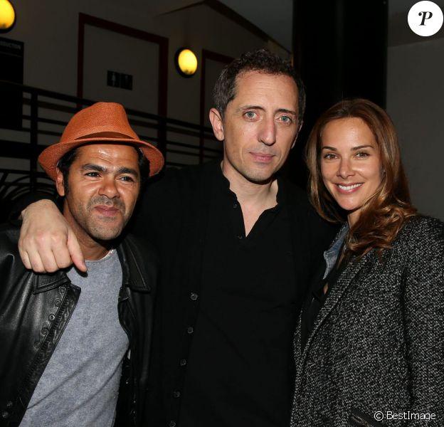 Exclusif - Jamel Debbouze, Mélissa Theuriau et Gad Elmaleh lors de sa dernière représentation à l'Olympia à Paris le 2 mai 2014.