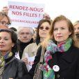 Claude Chirac, Saïda Jawad, Jane Birkin, Valérie Trierweiler - Marche de femmes pour appeler à la libération de jeunes filles enlevées par le groupe Boko Haram au Nigeria. Place du Trocadéro à Paris le 13 mai 2014.