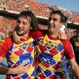 Jérôme Porical et Florian Cazenave après le quart de finale de coupe d'Europe entre l'USAP et le RC Toulon au stade olympique de Montjuic à Barcelone, le 9 avril 2011