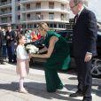 Le prince Albert II de Monaco et la princesse Charlene en visite dans l'ancien comté de Carlades le 14 mai 2014. Après le déjeuner, la princesse a dû s'éclipser, souffrante.