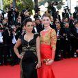La chanteuse Priscilla Betti et la comédienne Sarah Barzyk sur le tapis rouge du Festival de Cannes le 15 mai 2014