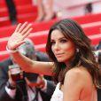 Eva Longoria (robe Gabriela Cadena) lors de la montée des marches du Festival de Cannes et la projection du film Saint Laurent le 17 mai 2014
