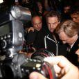 """Gérard Depardieu sort du Star Cinéma rue d'Antibes à Cannes, le 17 mai 2014, après la projection de """"Welcome to New York"""" pour donner sa conférence de presse sur la plage du Nikki Beach, en marge du du 67ème festival du film de Cannes."""