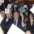 Benoît Hamon, Marc Ladreit de Lacharrière et Aurélie Filippetti dans le public pour la finale du 4e Trophée d'Impro de la Fondation Culture et Diversité et de la Compagnie Déclic Théâtre, le 19 mai 2014 au Théâtre Comedia, à Paris.