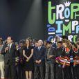 Le président de la République François Hollande a pris la parole lors de la finale du 4e Trophée d'Impro de la Fondation Culture et Diversité et de la Compagnie Déclic Théâtre, le 19 mai 2014 au Théâtre Comedia, à Paris.