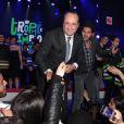 François Hollande, avec Jamel Debbouze à ses côtés, s'est engagé en faveur de l'impro lors de la finale du 4e Trophée d'Impro de la Fondation Culture et Diversité et de la Compagnie Déclic Théâtre, le 19 mai 2014 au Théâtre Comedia, à Paris.