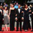 Heloise Godet, Jessica Erickson, Kamel Abdelli, Zoe Bruneau, Christian Gregori, Richard Chevallier - montée des marches du film Adieu au langage de Jean-Luc Godard (absent) lors du Festival de Cannes le 21 mai 2014