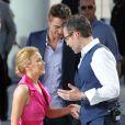 Retrouvailles de Kylie Minogue et Guy Pearce sur le plateau du Grand Journal, au Festival de Cannes, le 20 mai 2014.