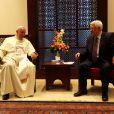 Le pape François accueilli par le président palestinien Mahmoud Abbas à Bethléem le 25 mai 2014