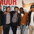 """Pablo Pauly, Sébastien Castro, Nader Boussandel, Noom Diawara et Fabrice Eboué - Avant-première du film """"Amour sur place ou à emporter"""" à Paris le 26 mai 2014."""