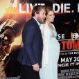 """Guy Ritchie et sa compagne Jacqui Ainsley, enceinte de leur 3e enfant - Avant-première du film """"Edge of Tomorrow"""" au BFI Imax à Londres le 28 mai 2014"""