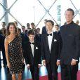 Marie et Joachim de Danemark et les princes Nikolai et Felix à leur arrivée le 1er juin 2014 au siège de Radio Danemark à Copenhague pour le gala en l'honneur des 80 ans du prince consort Henrik.