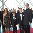 La princesse Marie, le prince Joachim de Danemark et les princes Nikolai et Felix à leur arrivée le 1er juin 2014 au siège de Radio Danemark à Copenhague pour le gala en l'honneur des 80 ans du prince consort Henrik.