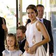 La princesse Mary de Danemark, en compagnie de ses enfants Christian et Isabella le 1er juin 2014 au siège de Radio Danemark à Copenhague pour le gala en l'honneur des 80 ans du prince consort Henrik.