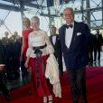 Le prince Henrik de Danemark avec son épouse la reine Margrethe II lors du gala à l'occasion de son 80e anniversaire le 1er juin 2014 au siège de Radio Danemark à Copenhague.