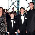 La princesse Marie et le prince Joachim de Danemark avec les princes Felix et Nikolai le 1er juin 2014 au siège de Radio Danemark à Copenhague pour le gala en l'honneur des 80 ans du prince consort Henrik.
