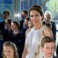 La princesse Mary et sesenfants le prince Christian et la princesse Isabella le 1er juin 2014 au siège de Radio Danemark à Copenhague pour le gala en l'honneur des 80 ans du prince consort Henrik.
