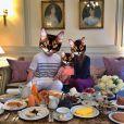 "Alexandra Rosenfeld, sa fille Ava, et Jean Imbert : de drôles de têtes pour une ""Familly Affair"", ce 1er mai 2014"