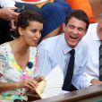 Anne Hidalgo, Najat Vallaud-Belkacem, Manuel Valls, Jean Gachassin lors de la finale homme des Internationaux de France de tennis de Roland-Garros à Paris, le 8 juin 2014.