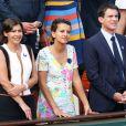 Anne Hidalgo, Najat Vallaud-Belkacem et Manuel Valls lors de la finale homme des Internationaux de France de tennis de Roland-Garros à Paris, le 8 juin 2014.