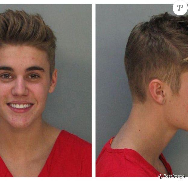 Mugshot de Justin Bieber qui a été arrêté à Miami, le 23 janvier 2014 pour conduite dangereuse en état d'ivresse.