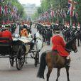 Image du défilé Trooping the Colour marquant le 14 juin 2014 la célébration solennelle des 88 ans de la souveraine.