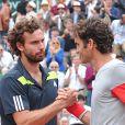 Ernest Gulbis vainqueur au 4ème tour de Roger Federer à Roland-Garros le 1er juin 2014.