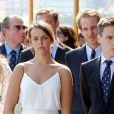 Pauline Ducruet, Louis Ducruet, Pierre Casiraghi et Andrea Casiraghi lors de l'inauguration du Yacht-Club de Monaco, le 20 juin 2014 au port Hercule de Monaco