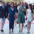 Gad Elmaleh, Caroline de Hanovre, Charlotte Casiraghi et la princesse Alexandra de Hanovre lors de l'inauguration du Yacht-Club de Monaco, le 20 juin 2014 au port Hercule de Monaco
