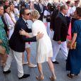Charlotte Casiraghi, son compagnon Gad Elmaleh, la princesse Charlene de Monaco, le prince Albert de Monaco et la princesse Caroline de Hanovre lors de l'inauguration du Yacht-Club de Monaco, le 20 juin 2014 au port Hercule de Monaco