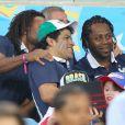 Christian Karembeu, Raï et Bernard Diomède lors du match de l'équipe de France face à l'Equateur, le 25 juin 2014 au stade Maracanã de Rio
