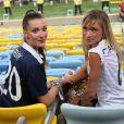 Fanny, la compagne de Loïc Rémy et Fiona Cabaye lors du match de l'équipe de France face à l'Equateur, le 25 juin 2014 au stade Maracanã de Rio