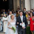 Le Prince Amedeo de Belgique et Elisabetta Maria Rosboch von Wolkenstein heureux lors de leur mariage à Rome le 5 juillet 2014. Le couple est entouré de sa famille pour célébrer ce moment d'amour.