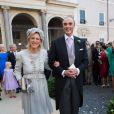Princesse Astrid de Belgique et le Prince Lorenz de Belgique - Mariage du Prince Amedeo de Belgique et de Elisabetta Maria Rosboch von Wolkenstein, à la basilique de Santa Maria à Trastevere, Rome, Italie le 5 juillet 2014.