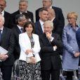 Anne Hidalgo et Claude Bartolone - Défilé pour la Fête nationale sur les Champs-Elysées en hommage aux sacrifice des troupes alliées dans la Première Guerre mondiale il y a cent ans. Le 14 juillet 2014.