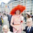 La reine Mathilde à son arrivée, avec Eléonore et Emmanuel. Le roi Philippe et la reine Mathilde de Belgique, accompagnés de leurs enfants la princesse héritière Élisabeth, duchesse de Brabant, le prince Gabriel, le prince Emmanuel et la princesse Éléonore ont assisté au Te Deum de la Fête nationale en la cathédrale de Bruxelles, le 21 juillet 2014.