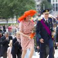 Le roi Philippe et la reine Mathilde de Belgique, accompagnés de leurs enfants la princesse héritière Élisabeth, duchesse de Brabant, le prince Gabriel, le prince Emmanuel et la princesse Éléonore ont assisté au Te Deum de la Fête nationale en la cathédrale de Bruxelles, le 21 juillet 2014.