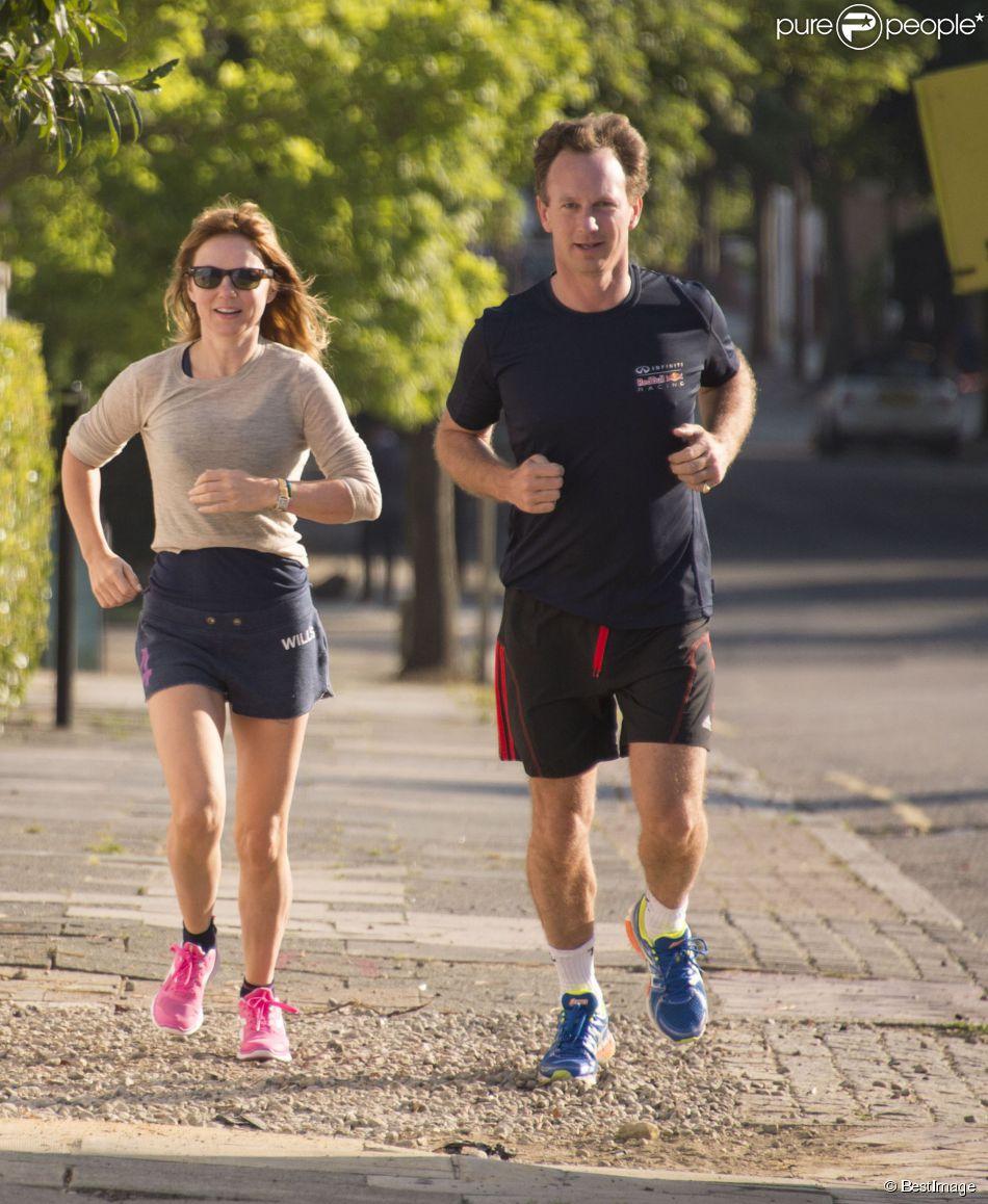 Exclusif - Geri Halliwell et son compagnon Christian Horner font du jogging près chez la chanteuse à Londres, le 31 juillet 2014.