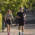 Exclusif - Geri Halliwell et son compagnon Christian Horner font du jogging à Londres, le 31 juillet 2014.
