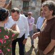 Le tournage du film d'Emir Kusturica avec Monica Bellucci à Trebinje, dans le sud de la Bosnie - 20 août 2014. Le président de la République serbe de Bosnie Milorad Dodik est venu saluer l'équipe.