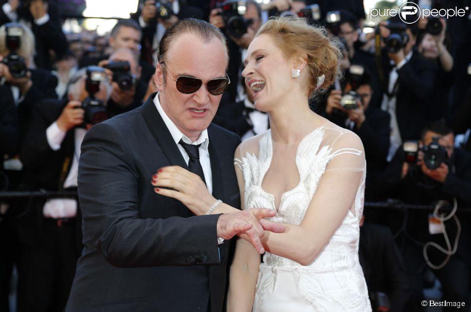 Quentin Tarantino, Uma Thurman complices au Festival du film de Cannes le 24 mai 2014.
