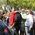Adriana Karembeu et son compagnon André Ohanian - Arrivée du 15ème Rallye des Princesses à Saint-Tropez le 5 juin 2014.